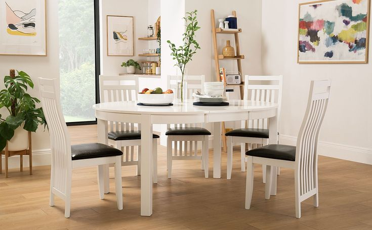 Marlborough Round White Extending Dining Table With 6 Java Chairs In 2020 Minimalist Dining Room White Extending Dining Table White Dining Table
