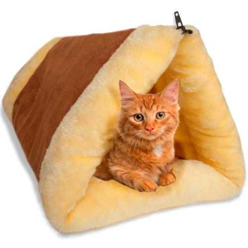 2-in-1-Cat-Pet-Bed-Tunnel-OxGord-Fleece-Tube-Indoor-Cushion-Mat-Pyramid-Pad