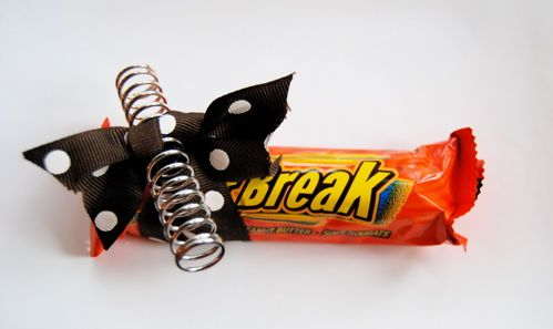 """Spring Break"" gift/goodie for teachers via 2cleverblog.com.  She used a Reese's Fast Break candy bar, a spring, and some ribbon.  So cute!"