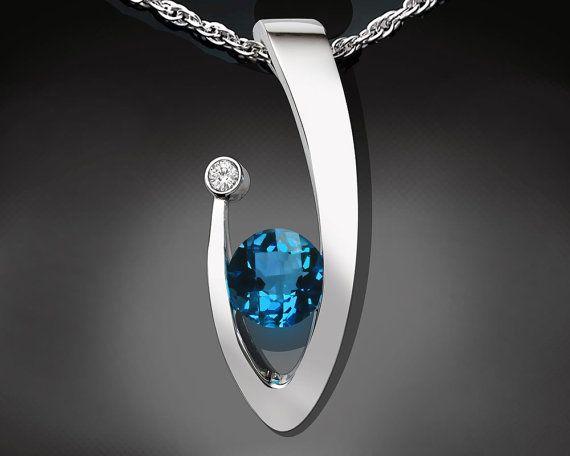 statement necklace, December birthstone, London blue topaz, white sapphire, Christmas gift, Argentium silver pendant, fine jewelry - 3418