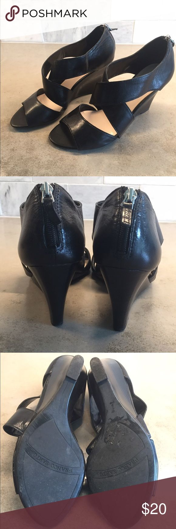 Franco Sarto Black Wedge Sandal Franco Sarto black wedge sandal with back zipper.  No size listed, fit like a 9.  Used once, like new.  No trades. Franco Sarto Shoes Wedges