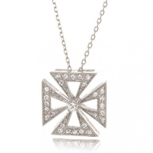 Bling Jewelry Cubic Zirconia Antique Byzantium Cross Necklace 16in