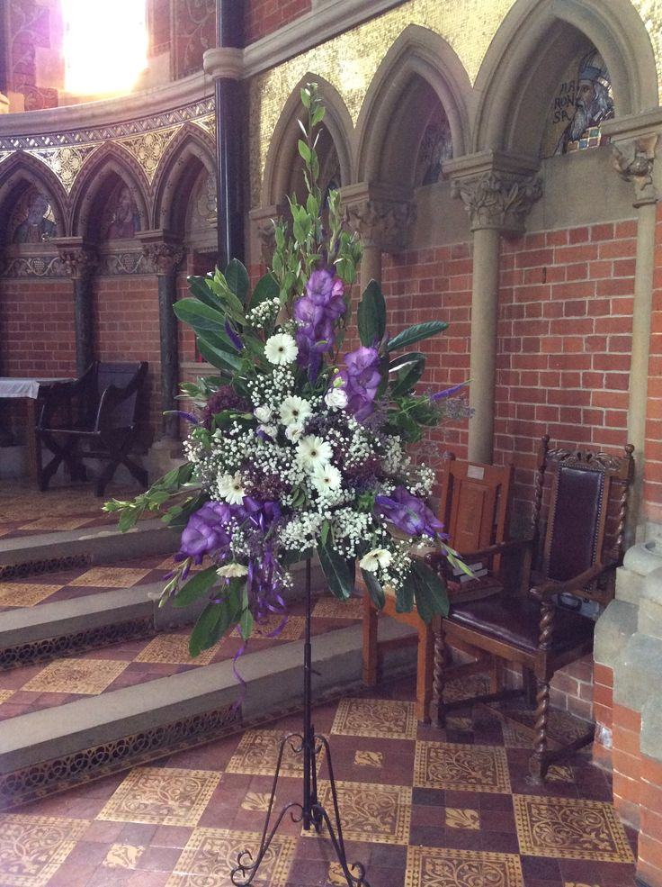 Ivory and purple pedestal