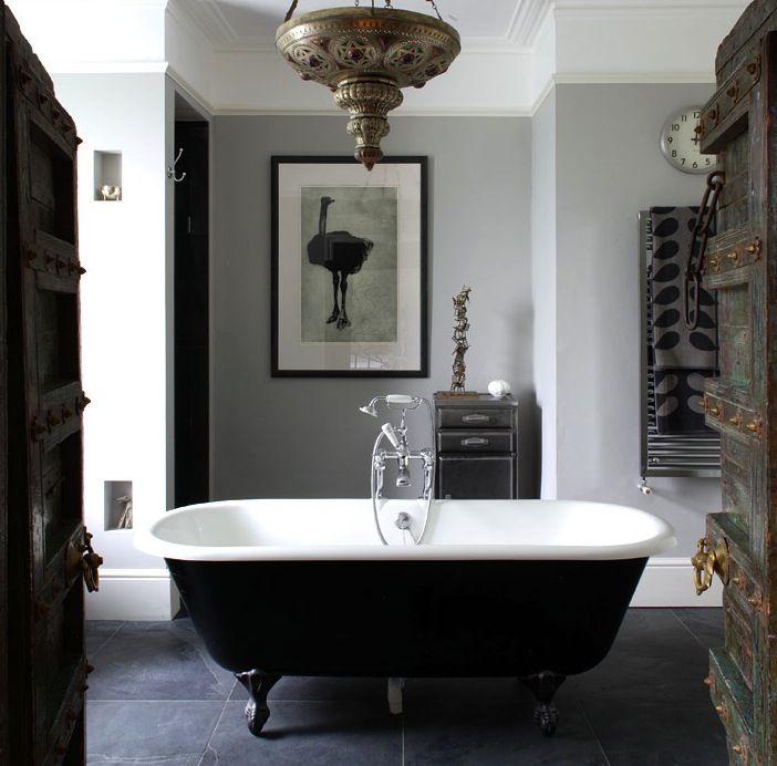 Knight MovesThe Doors, Clawfoot Bathtubs, Rustic Doors, Interiors, Rustic Bathroom, Clawfoot Tubs, Beautiful Bathroom, Black White, Grey Bathroom