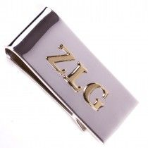 Max Lang Sterling Silver Money clip with 10k initials