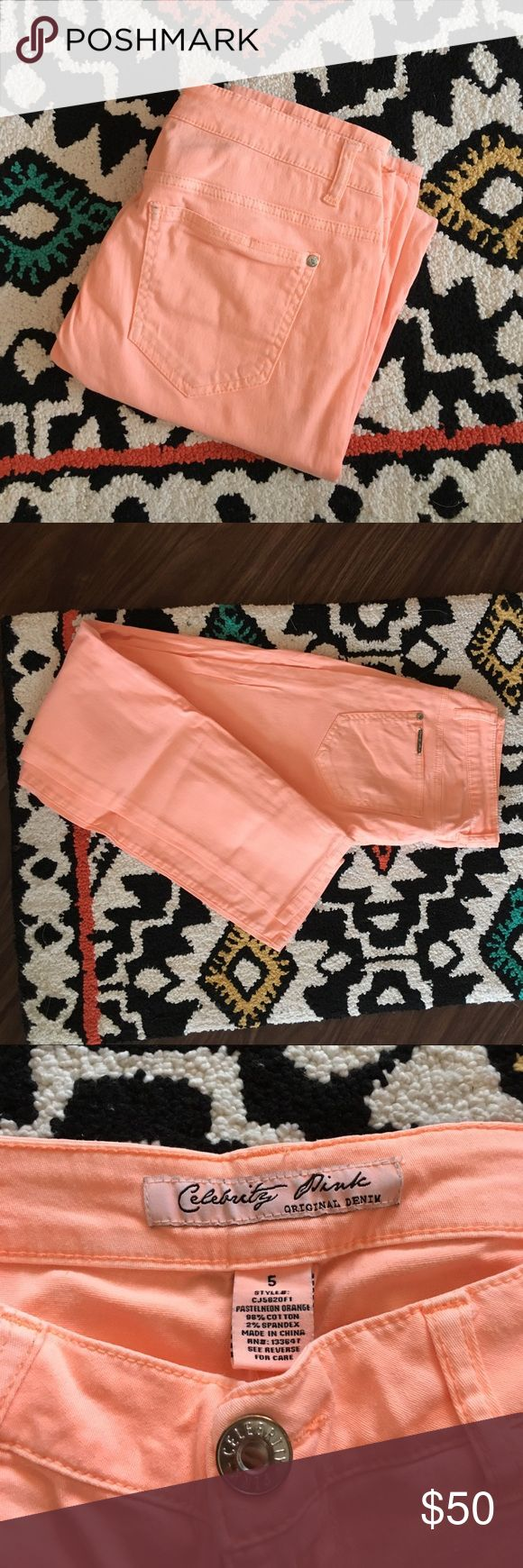 Peach 🍑 summery skinny jeans Peach colored skinny jeans, perfect for summer, size 5, 98% cotton,, 2% spandex, celebrity pink original denim, worn once, like new Celebrity Pink Pants Skinny