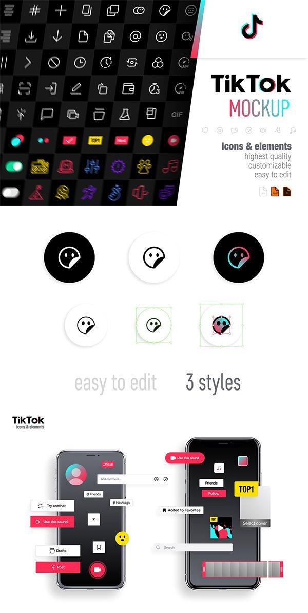 Tik Tok Icons Icon Design Social Media Icons Mockup Design