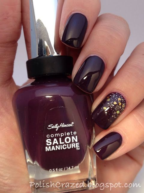 What a beautiful color.   -  Sally Hansen - Plum Luck with glitter added.