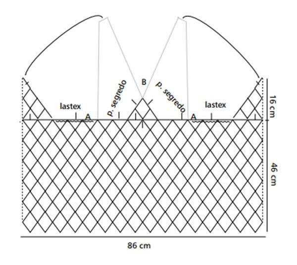 Material: - Linha Camila (nov. 1.000 m): 2 nov. na cor 268 (amarelo). - Ag. para Crochê de Aço Niquelado Corrente Milward de 1,75 mm. - Ag. Tapestry Corrente Milward nº 22. - 1 tubo de lastex Real. Criação e execução – Melaine Muttão Tamanho - 40