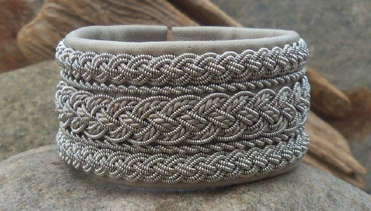 Wide Swedish Sami Bracelet, Pale Grey Leather Pewter Wire Silk Embroidery Braids -- spiritofthenorth in Sweden
