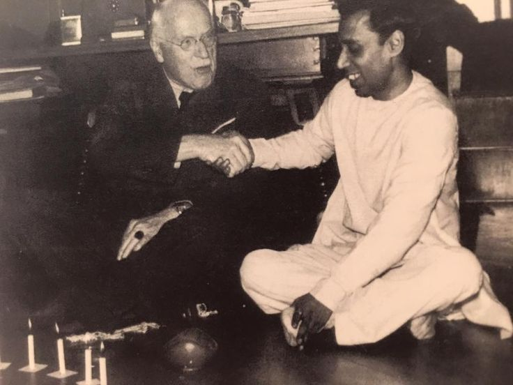 Carl Jung On his 75th birthday, 1950, with a visitor from India.