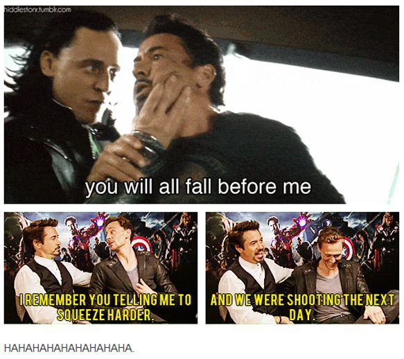 Tom Hiddleston and Robert Downey Jr | Loki and Tony Stark in Thor (2011) being juvenile and teasing the fangirls ;)