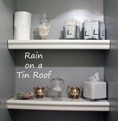 niche shelves that look bulky but are not! great idea.  Rain on a Tin Roof blog