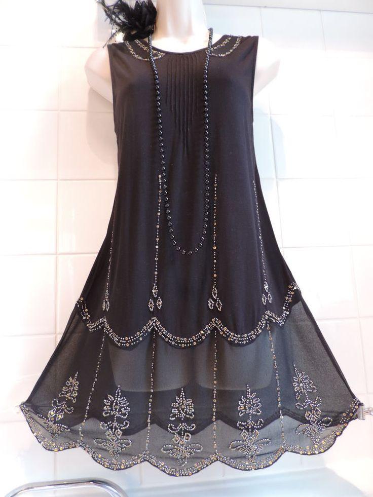 NEXT Vintage 1920's Bead Sequin Flapper Charleston Downton Gatsby Tunic Dress 12 in Vêtements, accessoires, Femmes: vêtements, Robes | eBay