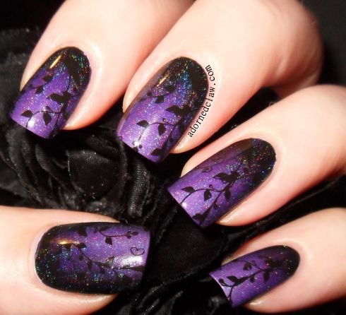 Purple and Black Gradient (with BN05 stamping plate from Messy Mansion) Nail-Art…