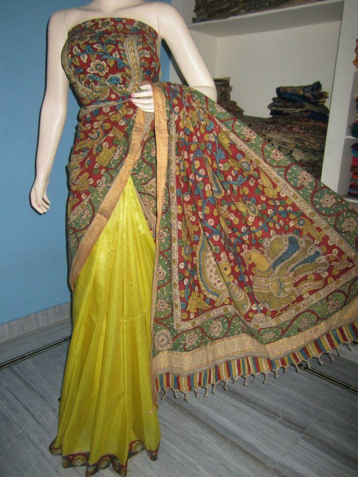Lovely half and half pure silk saree - Kalahasti Kalamkari