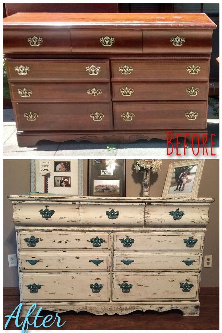 Dresser refurbished. Dresser redo. White distressed dresser. White shabby chic. Before and after