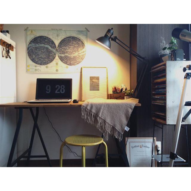 YUI-room.n.202さんの、机,IKEA,DIY,書類棚,PCデスク,PC周り,アームライト,のお部屋写真