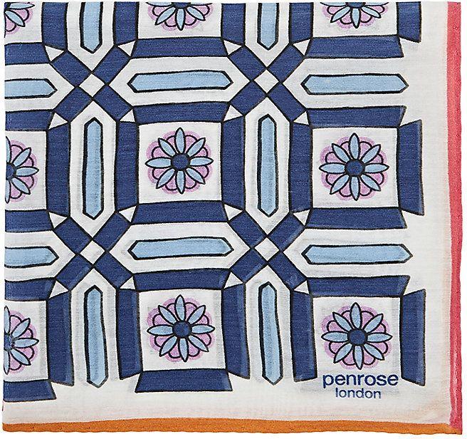 Penrose London PENROSE LONDON MEN'S FLORAL-PRINT COTTON-SILK POCKET SQUARE