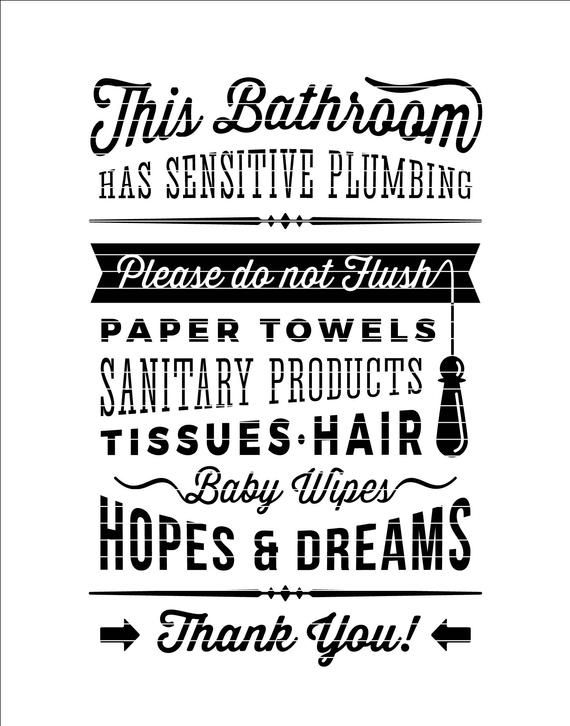 Bathroom Sign Sensitive Plumbing No Septic System Do Not Etsy Bathroom Signs Funny Toilet Signs Septic System