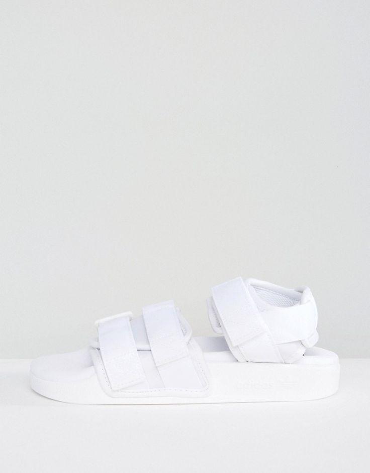 adidas Originals White Adilette Strappy Sandals - White