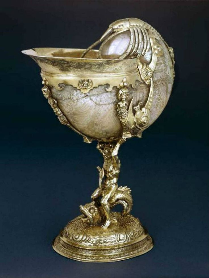 A late 16thearly 17th century Dutch silver-gilt mounted turban shell nautilus cup and associated cover Jansz van Vianen