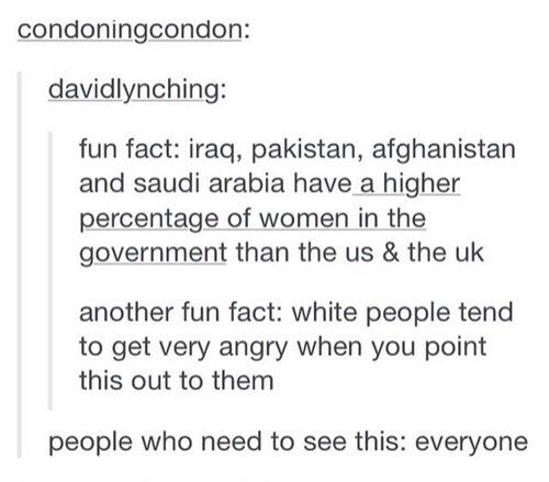 Oh, so not all Middle Eastern/Asian/Muslim women are oppressed!? Shocker(!)