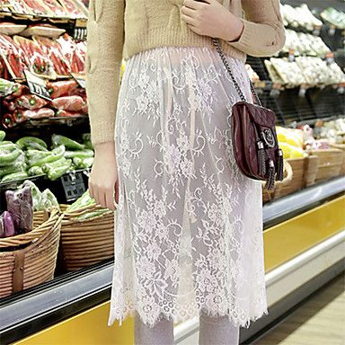 Women's Lace White/Black Skirts , Casual Knee-length Lace 2015 – $8.72