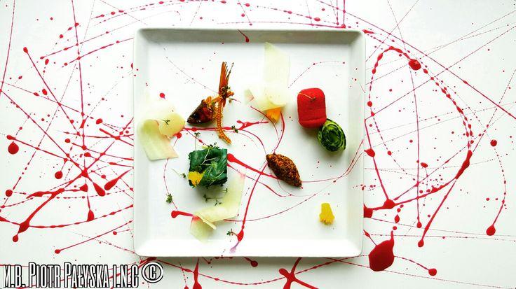 Plate13 Wędzona Sielawa w galarecie o smaku kiszonych Brokułów/ Polenta buraczana/ Palona Gorczyca/ Kasztan wodny/ Melon/ Rzeżucha/ Zakwas z buraków. Smoked Vendace in fermented Broccoli jelly/ Beetroot polenta/ burned Mustard/ weather Chestnut/ Melon/ Cuckooflowers/ Beet Kvass. m.b. Piotr Pałyska  #plate #abstract #expressionism #gastronomy