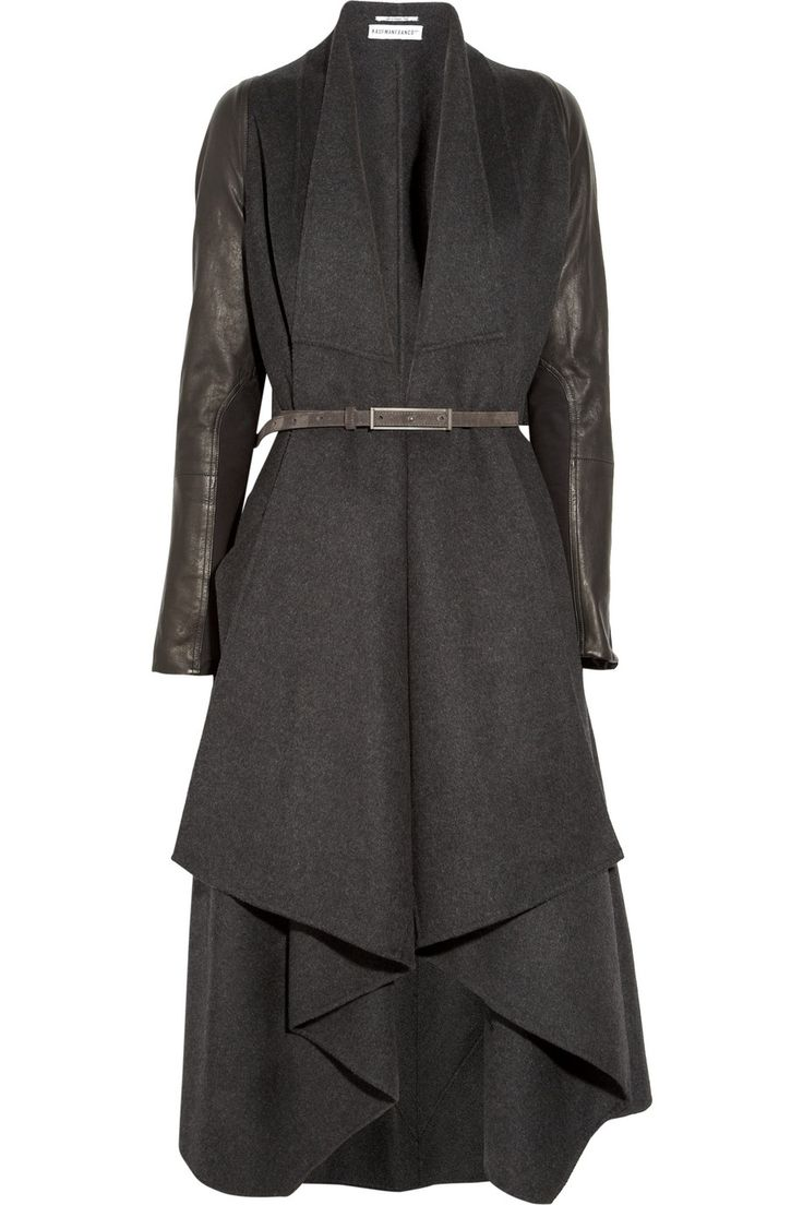 KAUFMANFRANCO  Belted leather and wool-blend felt coat