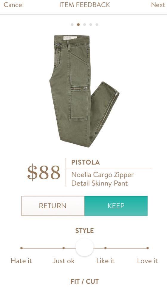 StitchFix Pistola Noella cargo zipper detail skinny pant