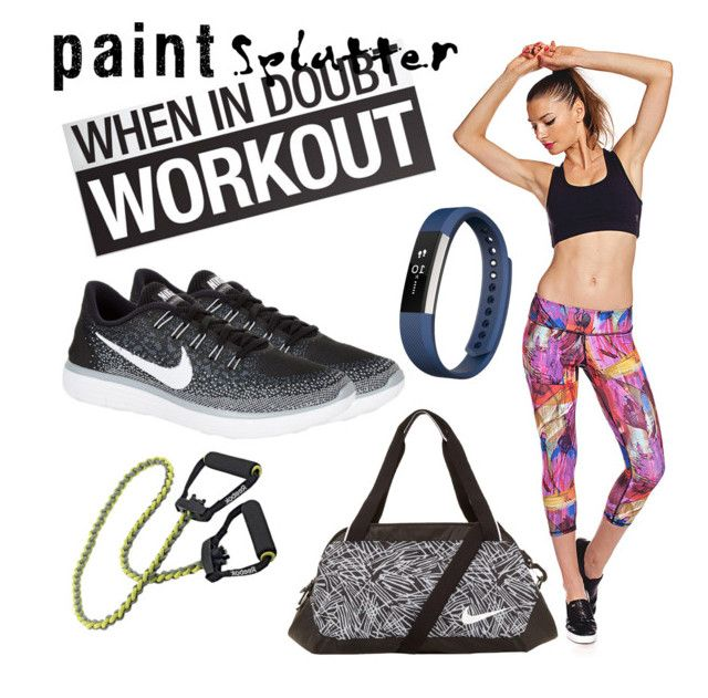 """Paint splatter Gym time"" by cherryoblossom ❤ liked on Polyvore featuring Nina.B.Roze, NIKE, Fitbit and paintsplatter"