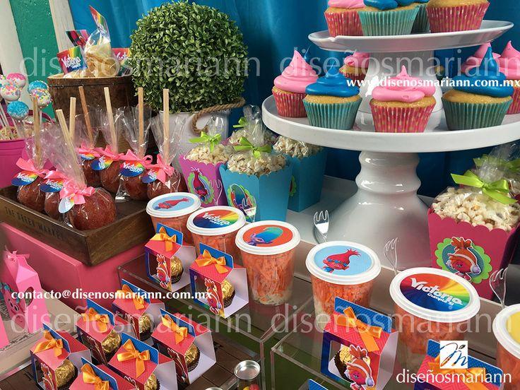 Mesa de dulces Trolls/Trolls candy bar/Fiesta trolls/