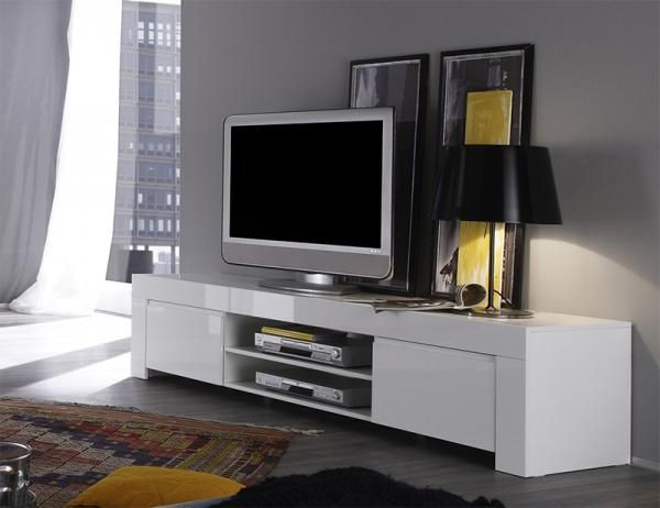 Contemporary High Gloss White 2 Door Large TV Unit