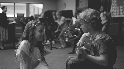 Sweet serenade cute black and white music kids animated song gif