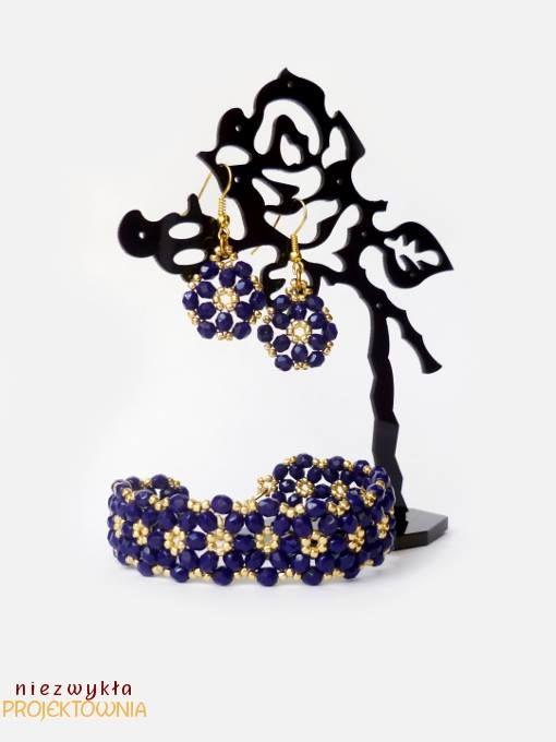 Komplet biżuterii z kryształków #FirePolish i koralików #toho. #handmade #jewelry #beading #cobalt #gold https://www.facebook.com/NiezwyklaProjektownia