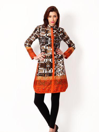 HERMOSEAR Printed Shirt Dress | Buy Black Long Kurtas | Shop Online India