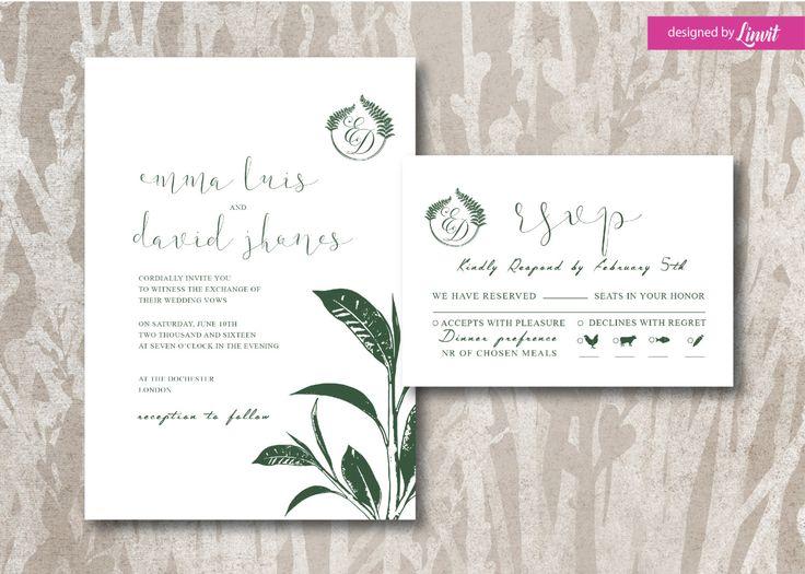 Ficus leafs wedding invitation-Digital wedding invitation-Printable wedding invitation set-Custom wedding invitation-exotic leafs-ficus by Linvit on Etsy