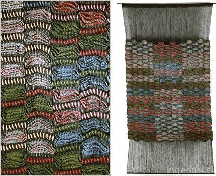 Inge Dusi, born in Germany, based in Chile, has used the 'amarra' textile technique: originally used in Pre-Colombian textiles & internationally recognized now as Shibori. See Blogroll. | Decanted