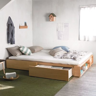MUJI STORAGE BED DOUBLE OAK S15