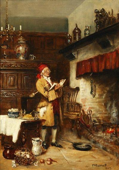 Frank Moss Bennett alkotása, Az omlett előkészítése, olajból készült vászonlemezen