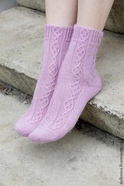 Женские вязаные носки сиреневые - сиреневый,однотонный,женские носки,носочки
