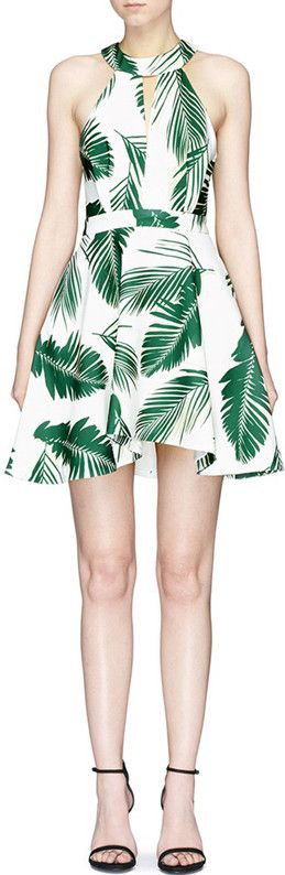 Pine Leaf Halter Mini Dress