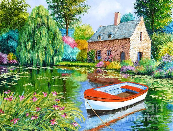The house pond print by jean marc janiaczyk landscape for Decorative pond fish crossword