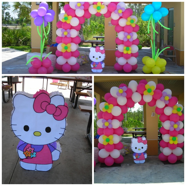Hello kitty balloon decorations balloon decorations by for Balloon decoration ideas for birthday party