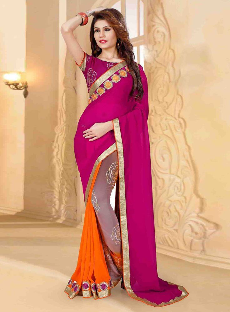 Magenta Georgette Casual Wear Printed Saree 80812