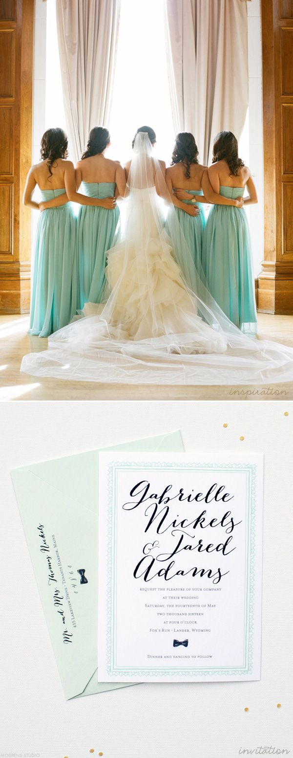 Mint Green + Black Wedding Invitations and Inspiration | www.mospensstudio.com