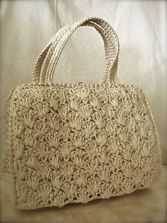 Vintage weaved raffia ivory bag by BeQueath