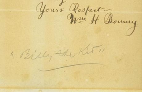 Actual signature of Wm. H. Bonney, aka, Billy the Kid.