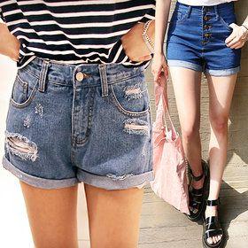 Gmarket - Basic shorts / high waist / slim fit / washed denim / ...